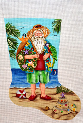 Tropical Stocking   (Handpainted by Gayla Elliott Designs) 18*GE628