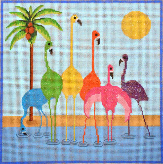 Six Flamingos (includes stitch guide)  (hanpainted from NPA) 18*AA-001
