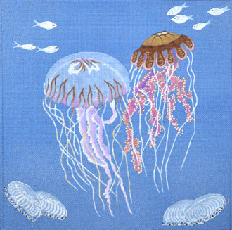 Jelly Fish on Blue Canvas  (Handpainted by Dede's Needleworks) 18*ED-18032