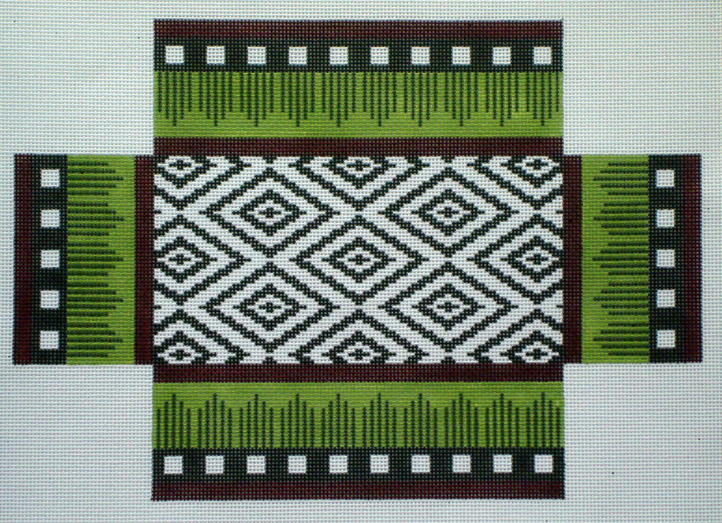 Burgundy & Brown Ikat Brick Cover (Handpainted by JP Needlepoint) 18*BC-064