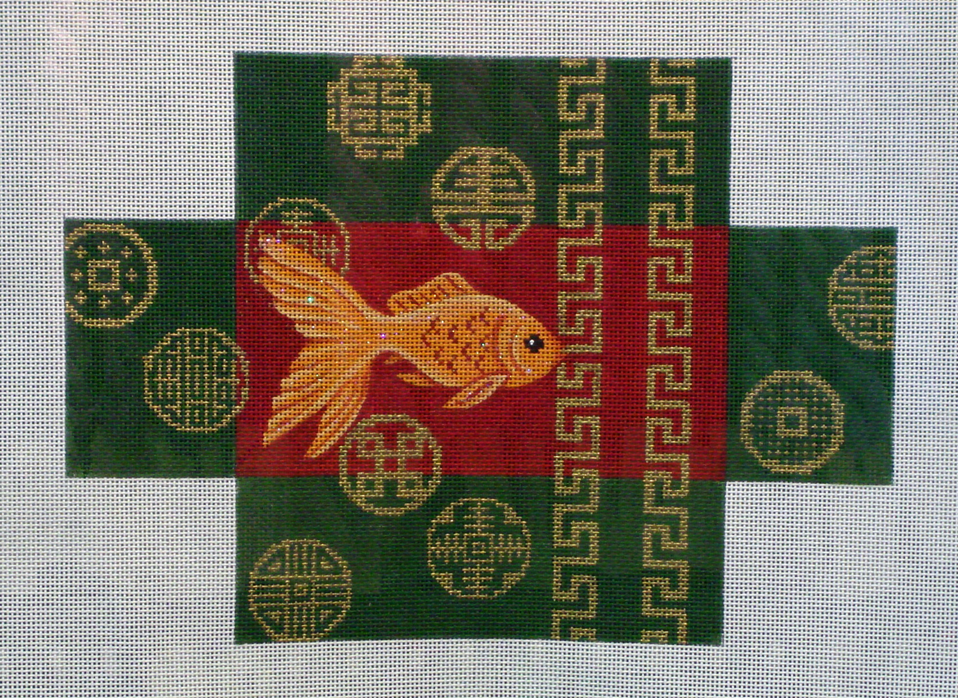 Goldfish & Coins Brick Cover    (Handpainted by JP Needlepoint) 18*BC-016