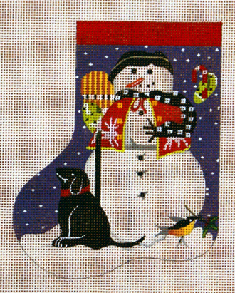 Black Dog Snowman Mini Sock    (handpainted by Melissa Shirley) 18*MLT-79C