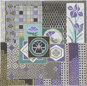 Japanese Quilt     (handpainted from Mindy's Needlepoint Factory) B20-M52
