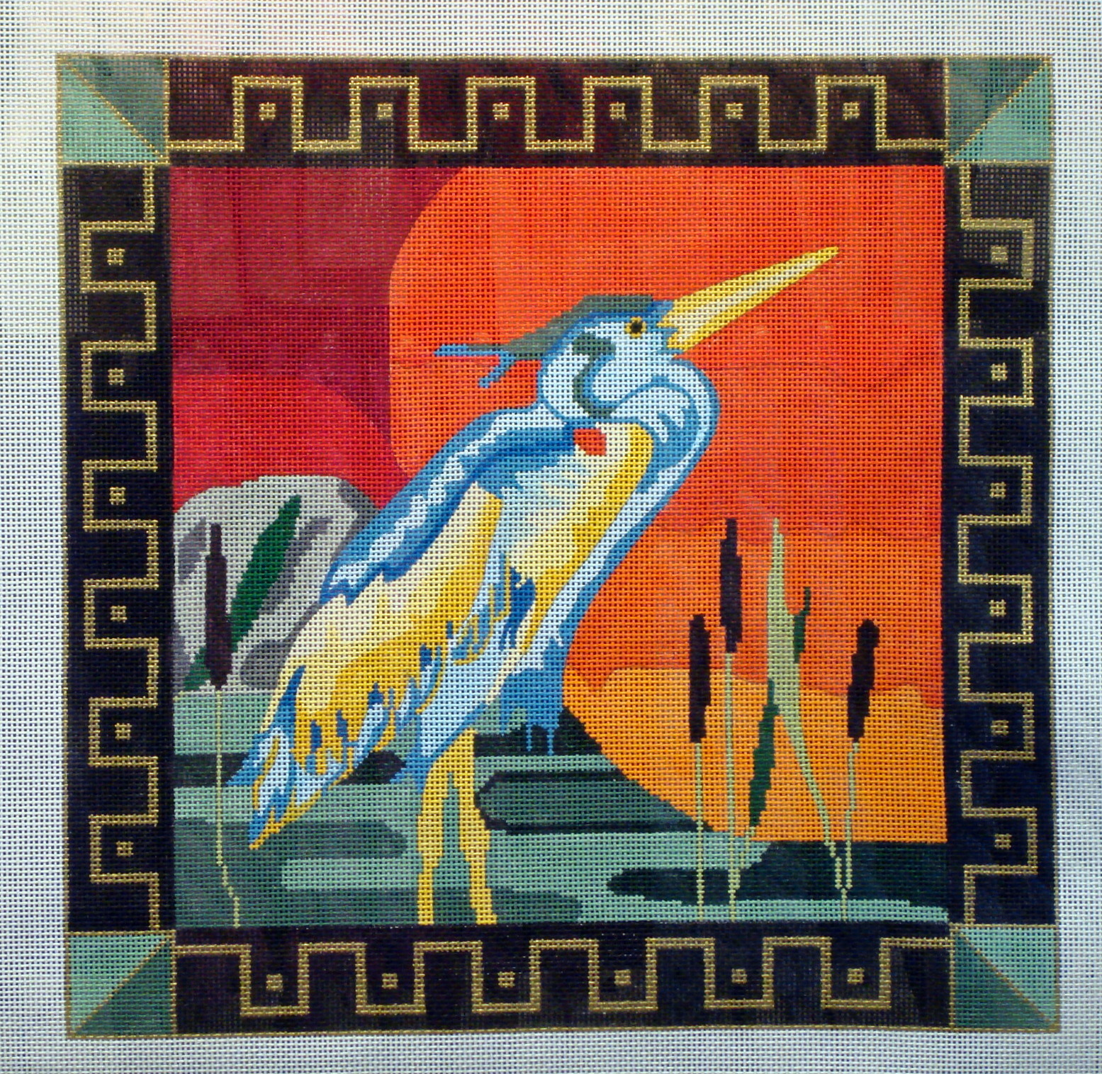 Bird at Sunset (Handpainted by Maps Designs) 18*168A