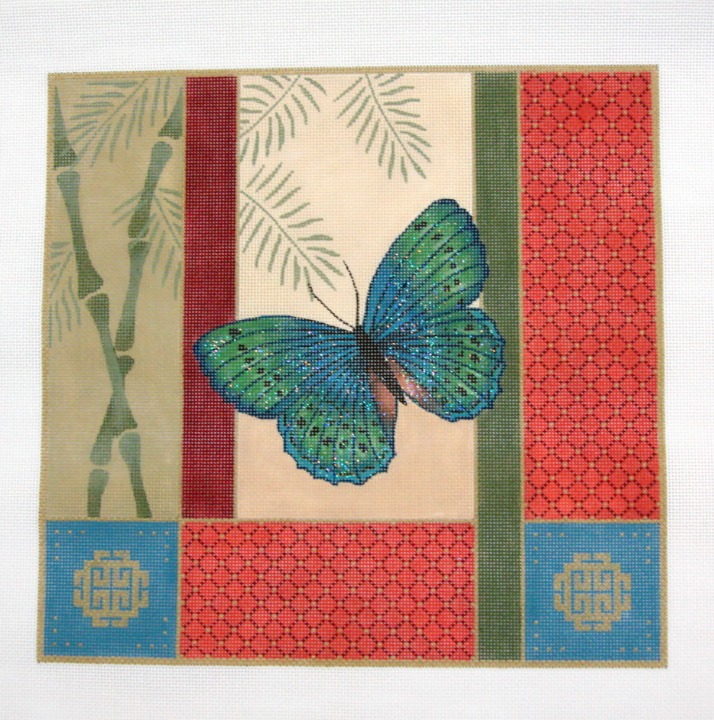 More Butterfly, Bamboo & Coins       (Handpainted by JP Needlepoint) 18*O-095