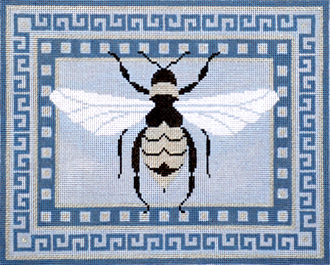Elegant Bee with Gray Border     (Handpainted Needlepoint by JP Needlepoint) 18*B-238