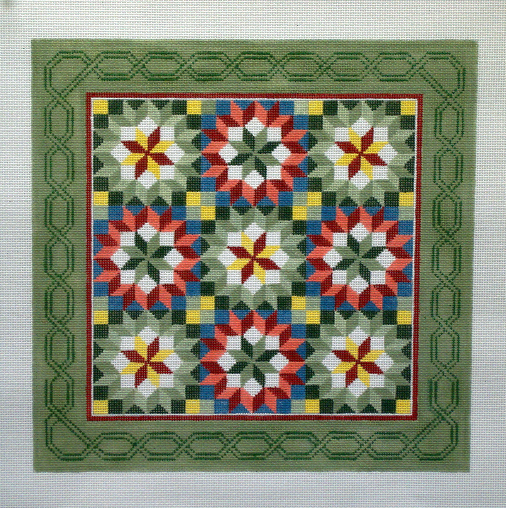 Carpenter's Wheel Quilt   (Hand painted by Susan Roberts Designs) 18*1479