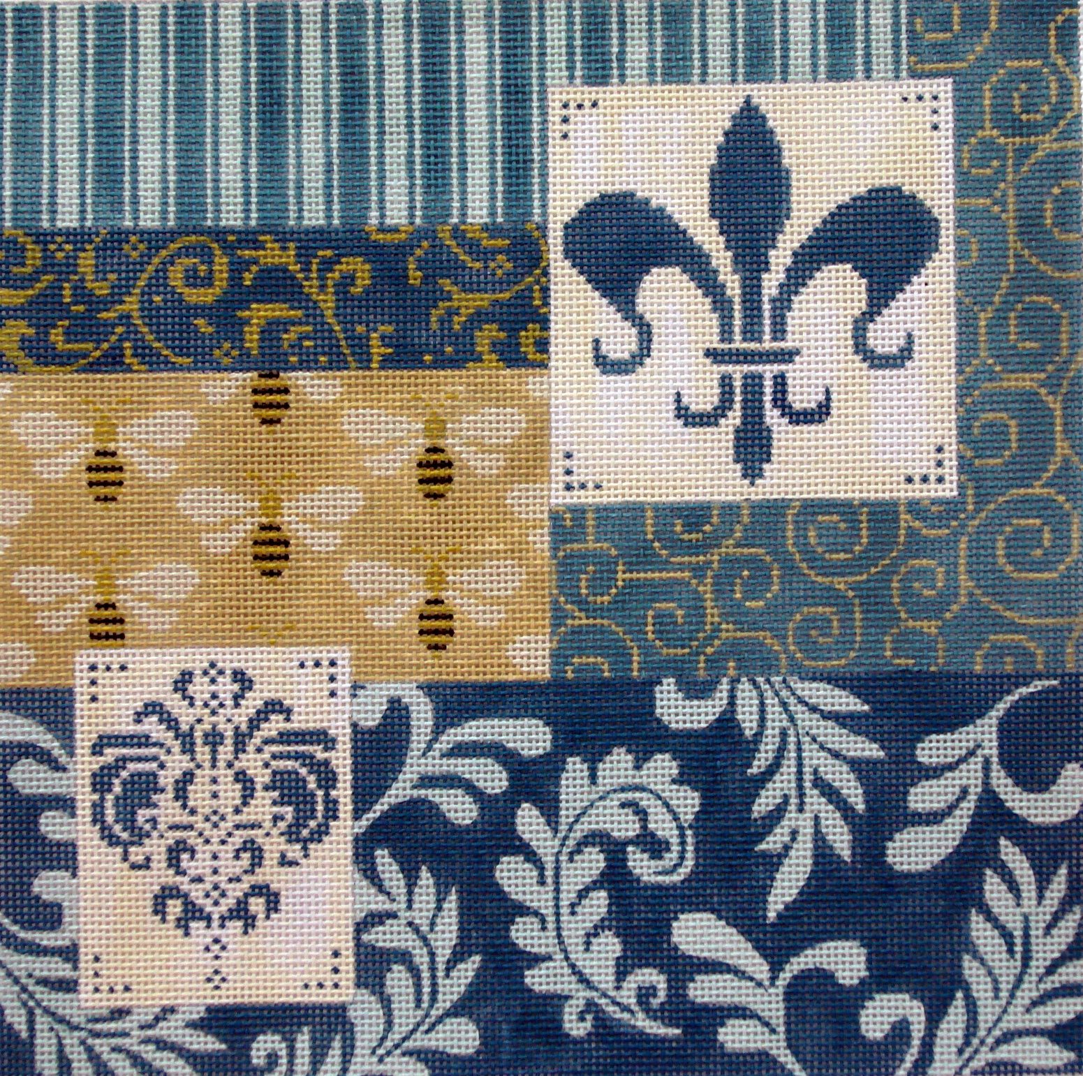 Blue Patchwork w/Fleur & Bees     (Handpainted by JP Needlepoint) 18*L-352