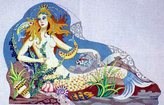 Galina's Mermaid Rug   (Handpainted by Barbara Russell) 18*BR-409
