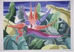 Bird of Paradise Rug     (handpainted by Jean Smith) 18*43A