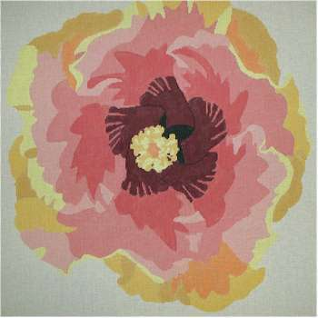 Hibiscus Rug     (handpainted by Jean Smith) 18*131G