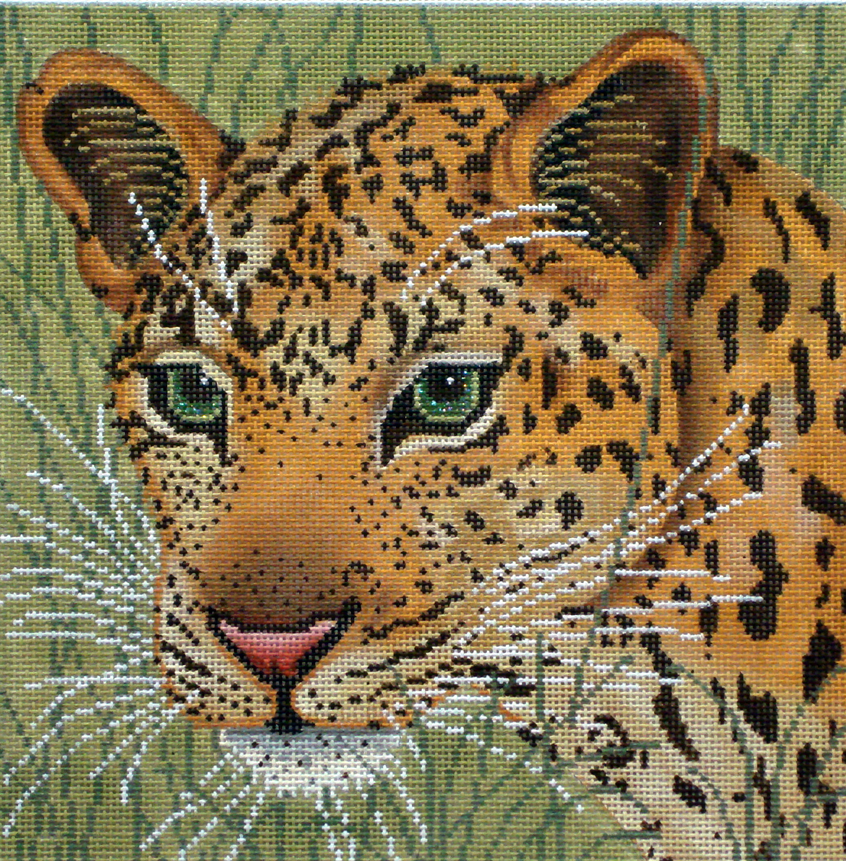 Leopard in Grasses    (handpainted needlepoint canvas by JP Needlepoint) 19*A106