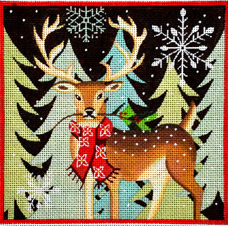 Deer - Red Scarf   (handpainted by Maggie & Co.)