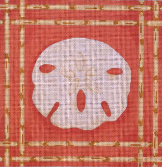Sand Dollar / Bamboo Border   (Handpainted from Associated Talent) 18*D-0904