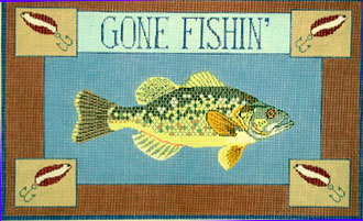 Gone Fishin, Bass  (Hand Painted Needlepoint canvas by Danji) 18*ERB-09