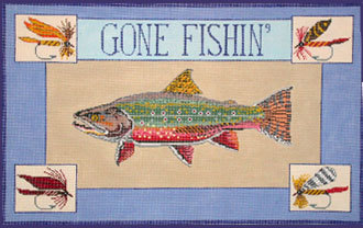 Gone Fishin, Trout  (Handpainted canvas by Danji) 18*ERb-09