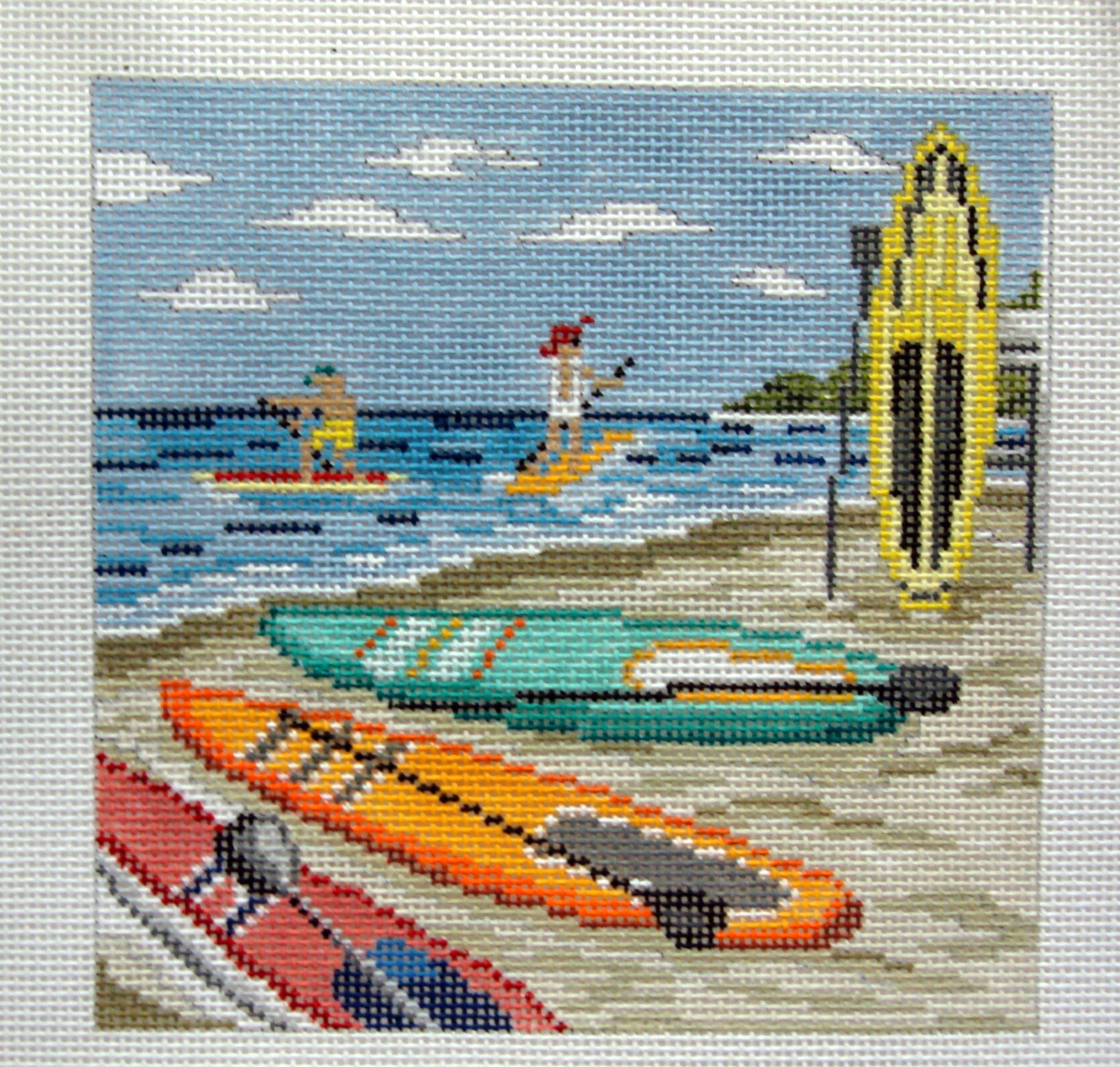 Paddle Boarding    (handpainted from Needle Crossing) 18*702
