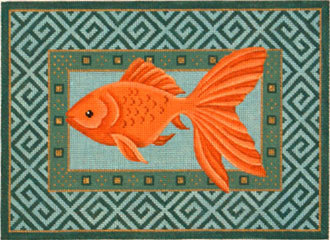 Goldfish Swimming Left     (Handpainted from JP Needlepoint) 18*S-226