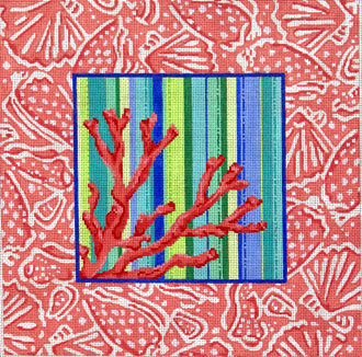 Coral/Shell, Toile Border    (Handpainted from Associated Talents)l 18*D-0809