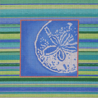 Sand Dollar Silhouette/Striped Border   (hand painted from Associated Talent) 18*D-0808