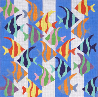Fish on Blue and White (Handpainted by the Point Of It All Designs) 18*DRAC1101