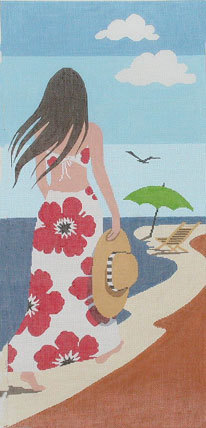 Beach Lady        (Handpainted by Lee Needlearts) 18*WH-1193