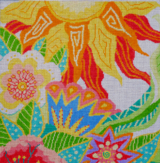 Large Tropical Garden   (handpainted by Jean Smith) 18*101A