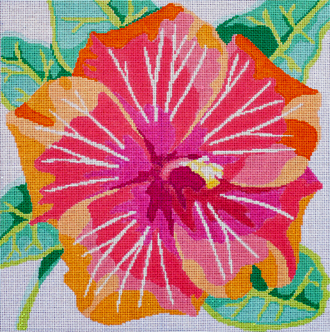 Tropical Hibiscus    (handpainted by Jean Smith) 18*22C