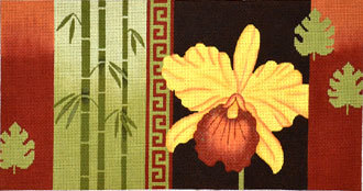 Bird of Paradise, Bamboo, Coins   (Handpainted by JP Needlepoint) 18*O-038