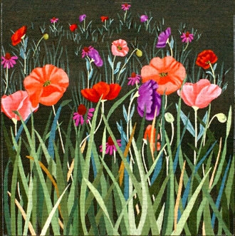 Red Poppy Meadow on Green  (Handpainted by Dede's Needleworks) 18*ED-1379