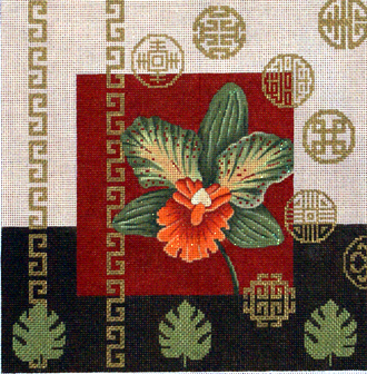 Green Orchid & Coins         (Handpainted by JP Needlepoint)