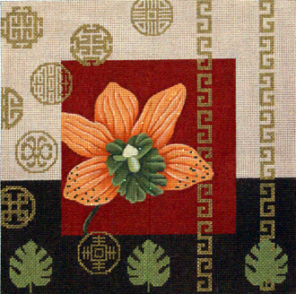 Orange Orchid & Coins    (Handpainted by JP Needlepoint) 18*O-005