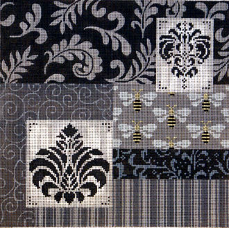 Black, White and Grey Patch w/ Medallions   (Handpainted by JP Needlepoint) 18*L-365
