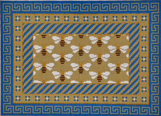 Blue/Beige Greek Key & Bees by JP Needlepoint(Hand Painted Needlepoint)