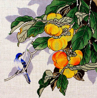 Bluebird & Peaches (Handpainted by Lee Needlearts)