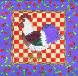 Cherries & Rooster (facing left) A42-C553B