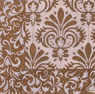 Brown Damask Patch 1   (Handpainted by JP Needlepoint) 18*L-089