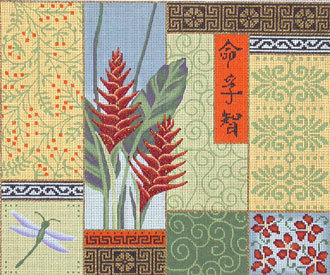Ginger Flower/Patchwork   (handpainted by JP Needlepoint) 18*O-083