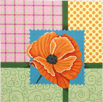 Scrapbooking Poppy   (Handpainted by JP Needlepoint) 18*V-011