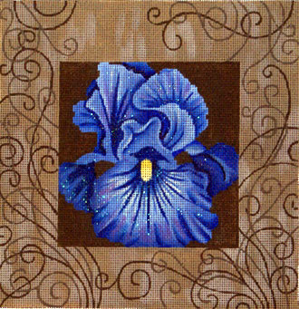 Blue Iris and Swirls   (handpainted by JP Designs) 18*V-036