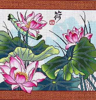 Lotus with Border (Hand Painted Needlepoint Canvas by Lee) 18*-WH-1239