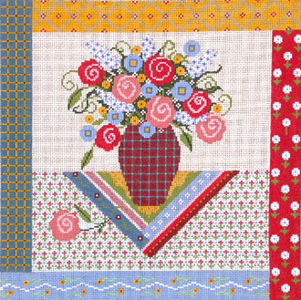 Provence Bouquet (Handpainte Needlepoint Canvas by Shelly Tribbey) 18*-P138