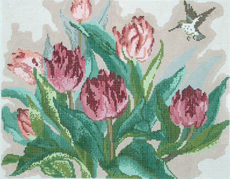 Tulips and Hummingbird  (handpainted by Treglown Designs) 18*WL-1009