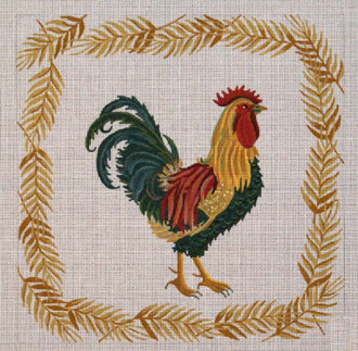 Green & Red Rooster     (JP Designs) *B-097
