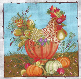 Harvest Rooster  (handpainted by Melissa Shirley) 18*J-156