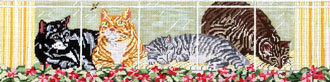 Kittens in Window (Handpainted by Needle Crossings) 18*611-18