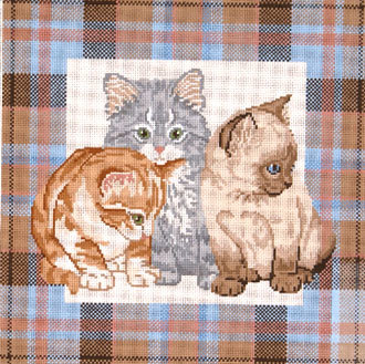 Kittens on Plaid    (handpainted by Meredith Collection) 18*G-688