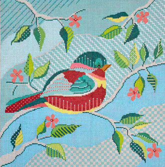 Quilted Bird     (Handpainted by Shelly Tribbey Designs) 18*P141