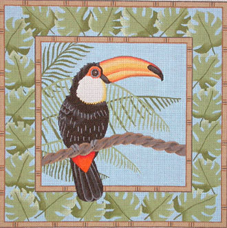 Red McCaw in Palm Leaves      (JP Needlepoint Designs) 18*B-343