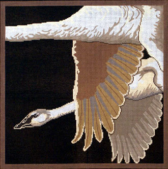 Trumpeter Swans on Black (Handpainted by Red Thread Designs) 18*600B
